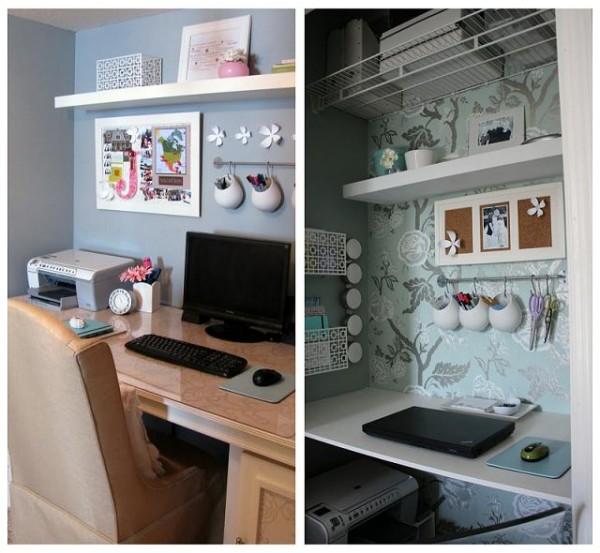 Интерьер маленького офиса в гардеробной
