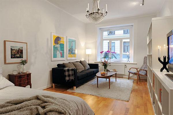 Картины в декоре гостиной совмещенной со спальней