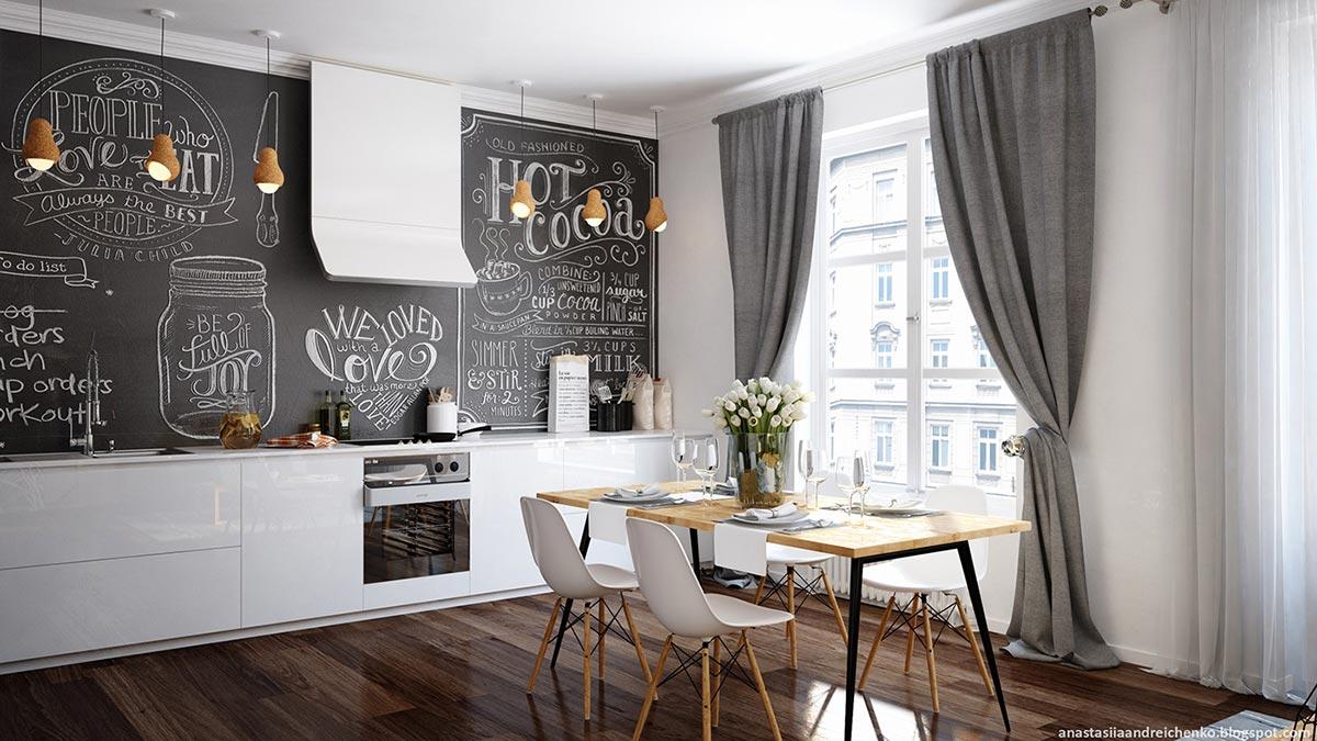 Интерьер маленькой комнаты в чёрно-белом цвете