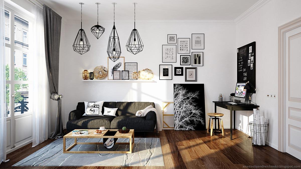 Чёрные акценты в интерьере маленькой комнаты