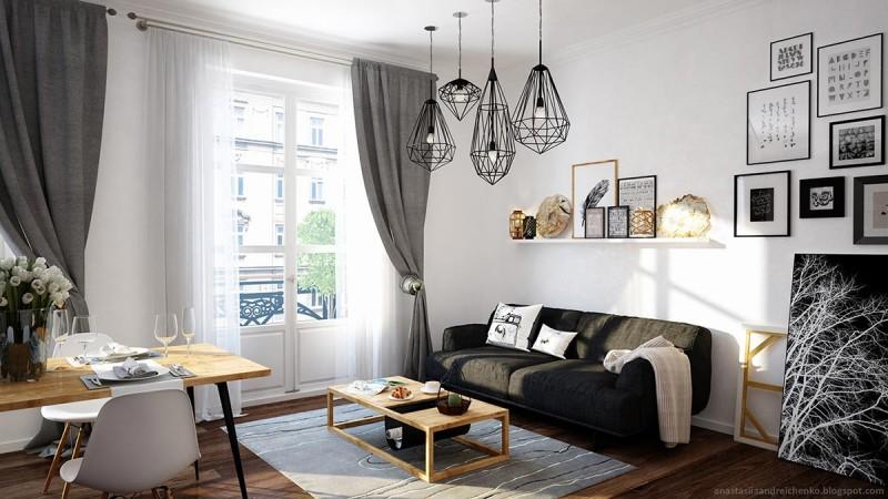 Интерьер маленькой комнаты в монохроме
