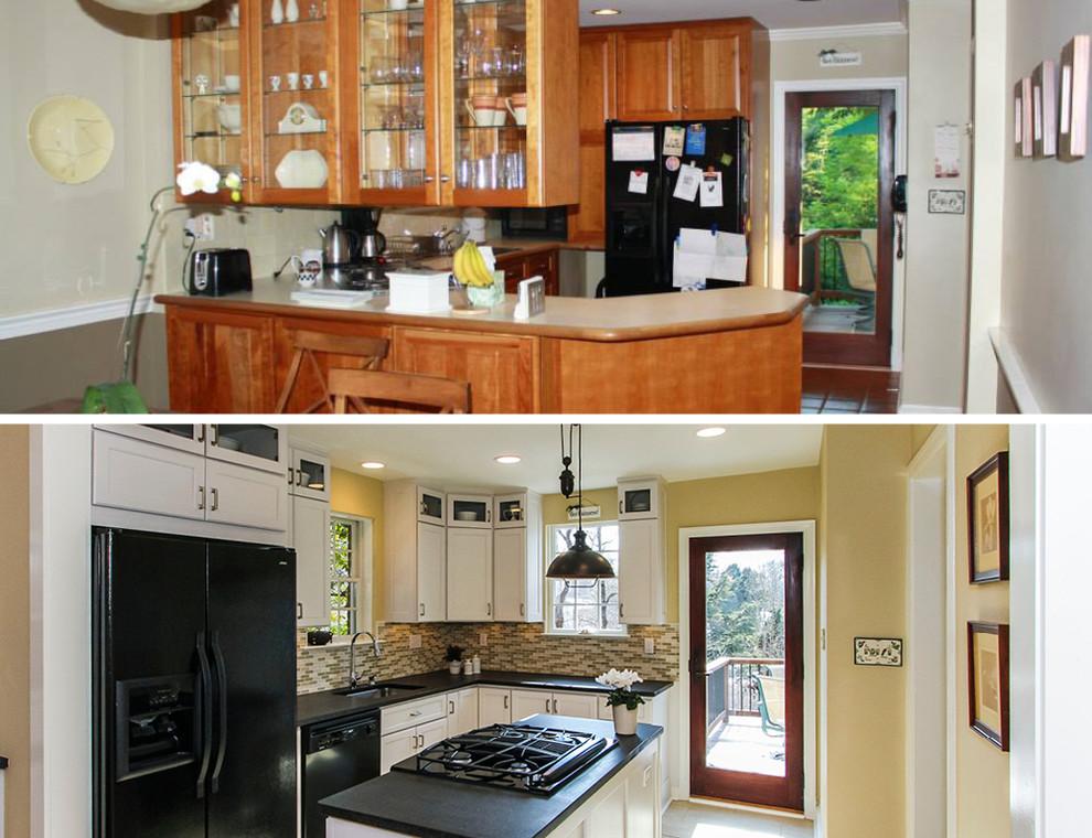 Интерьер маленькой кухни до и после ремонта