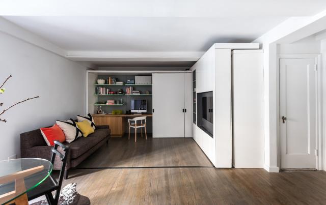Интерьер маленькой квартиры с передвижной стеной