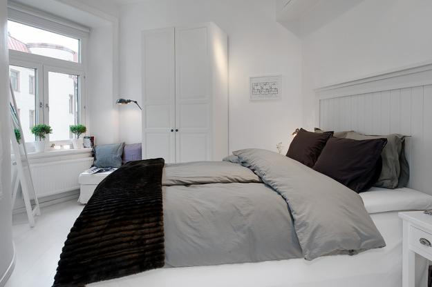 Спальня квартиры в скандинавском стиле в Гётеборге