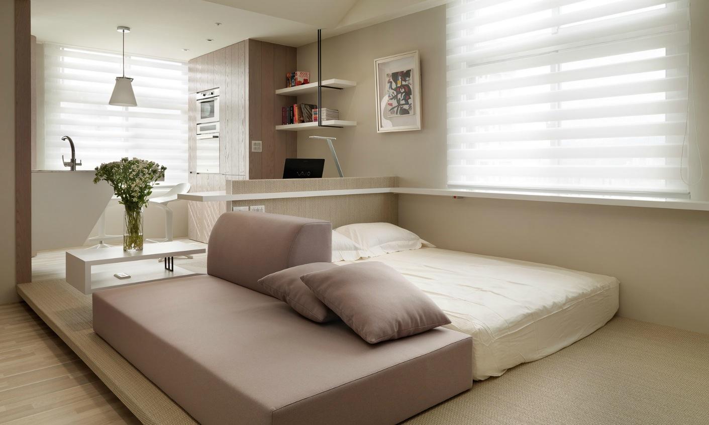 Спальная зона в маленькой однокомнатной квартире