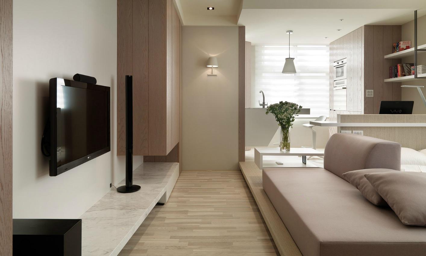 Интерьер маленькой однокомнатной квартиры в светлых тонах