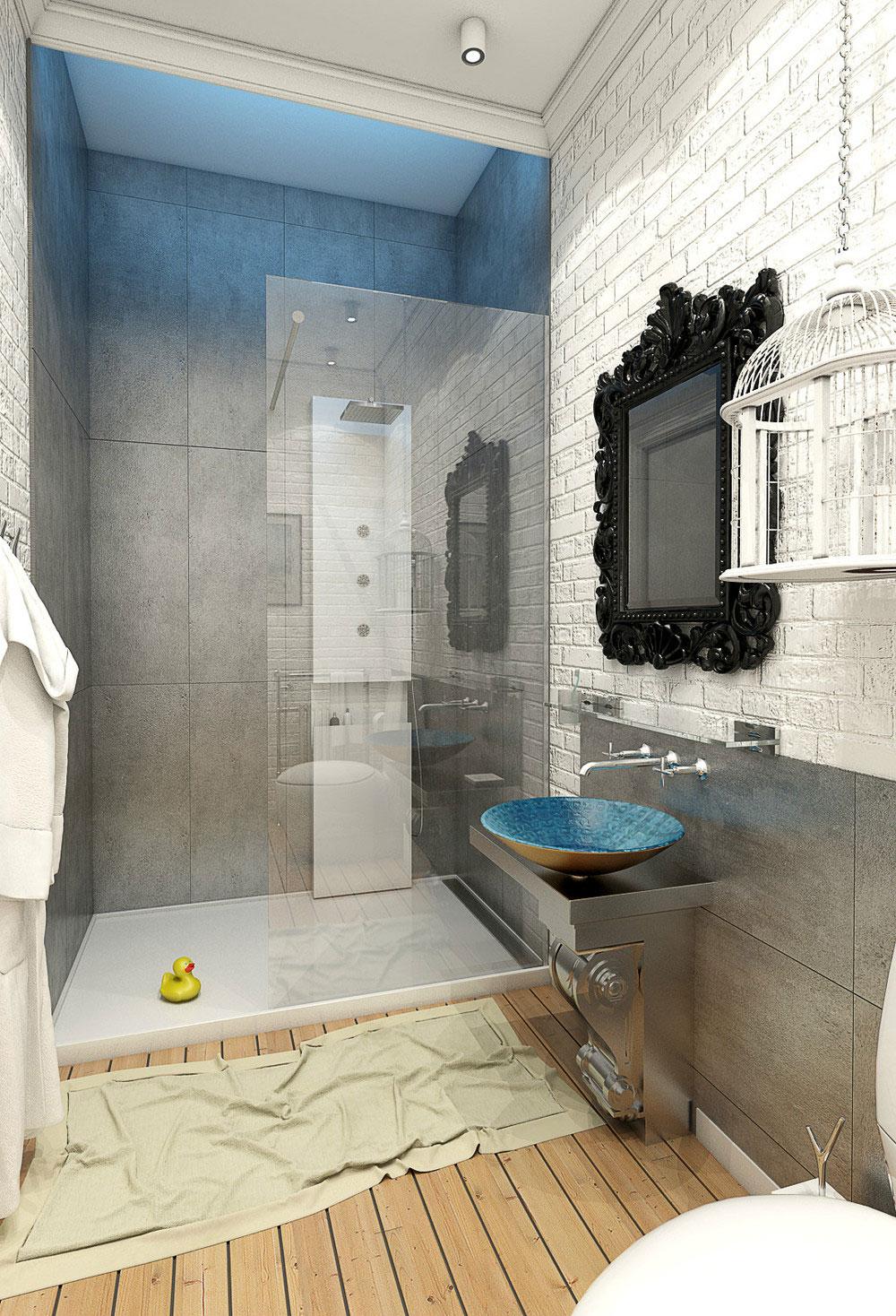 Интерьер маленькой ванной комнаты - фото 29