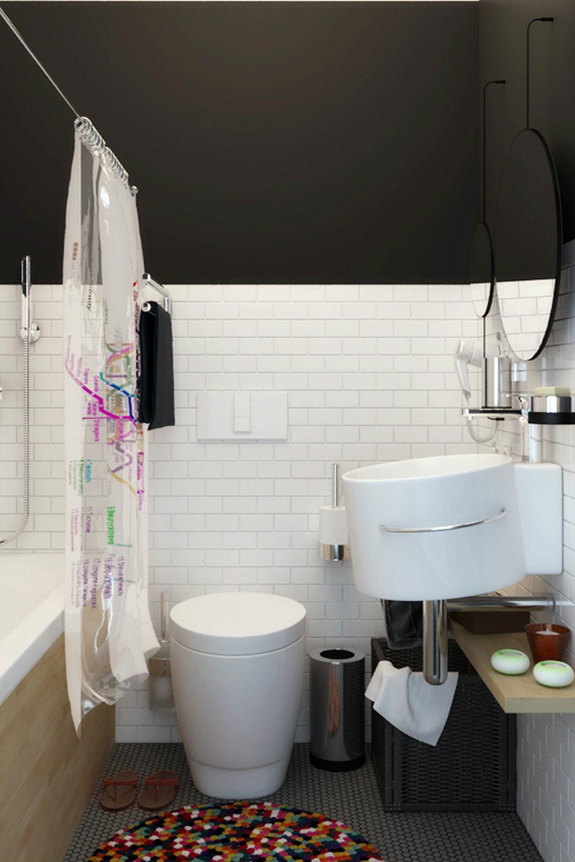 Интерьер маленькой ванной комнаты - фото 34