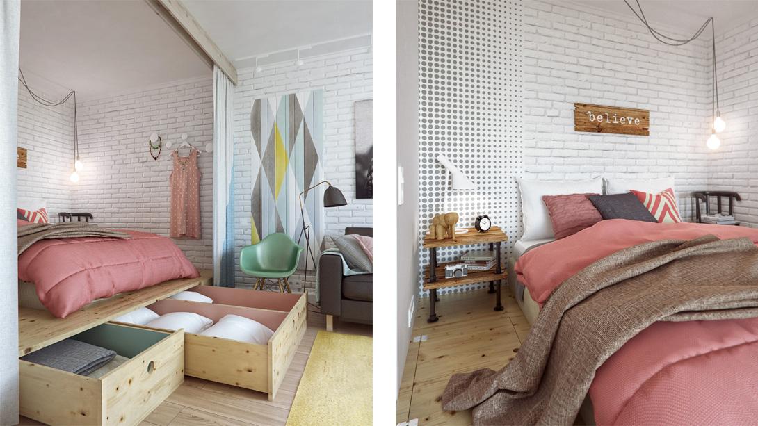 Дизайн спальни в небольшой квартире в Москве