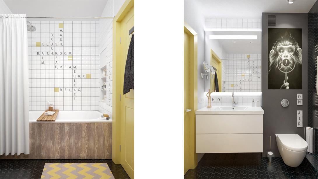 Дизайн ванной комнаты в небольшой квартире в Москве