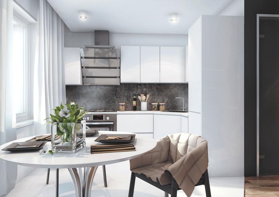Дизайнерский интерьер небольшой кухни - фото 34