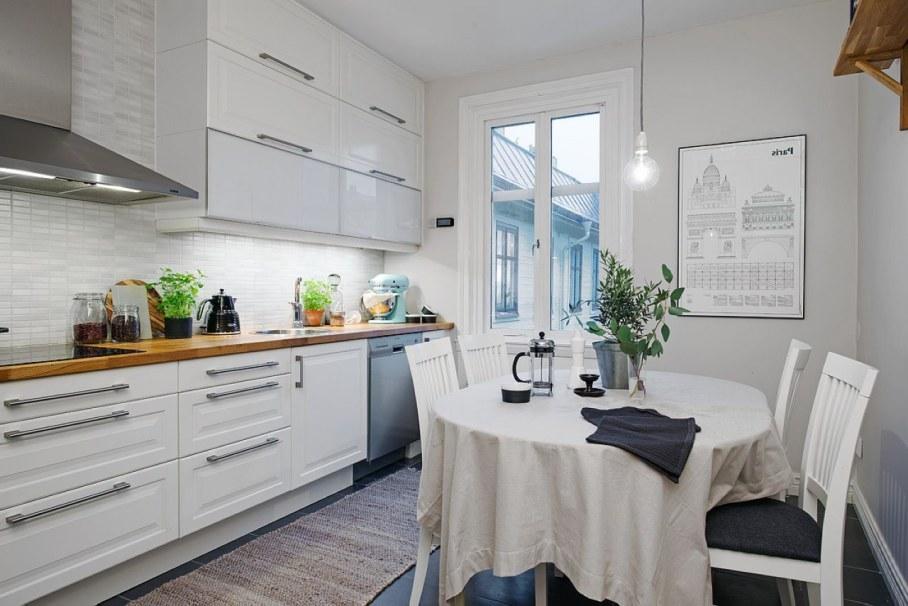 Интерьер небольшой кухни в скандинавском стиле