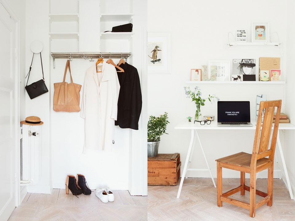 Рабочий уголок в прихожей небольшой однокомнатной квартиры