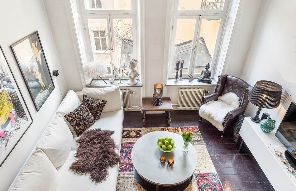 Интерьер однокомнатной квартиры в Швеции