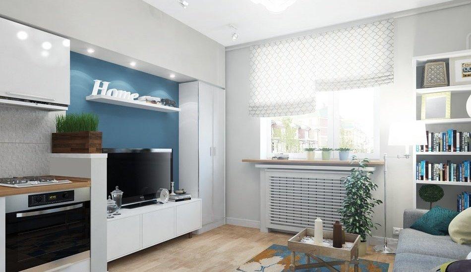 Маленькая гостиная совмещенная с кухней