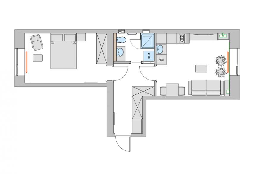 Схема планировки маленькой квартиры