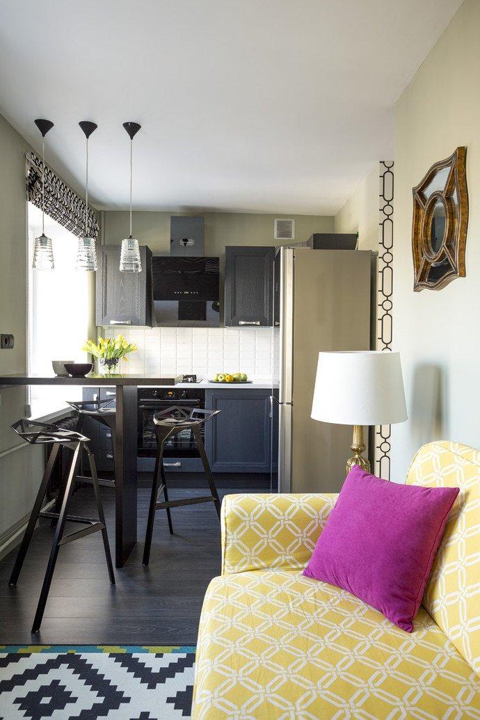 Интерьер маленькой кухни в квартире-студии