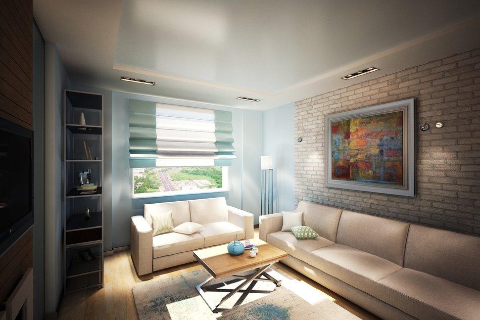 Кирпичные стены в гостиной комнате