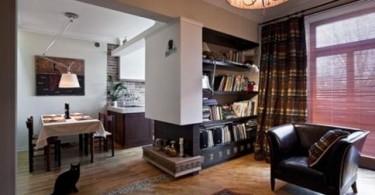 Интерьер светлой квартиры с тёмными акцентами