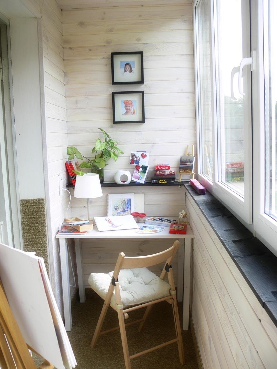 Как обустроить домашний офис на балконе - фото.