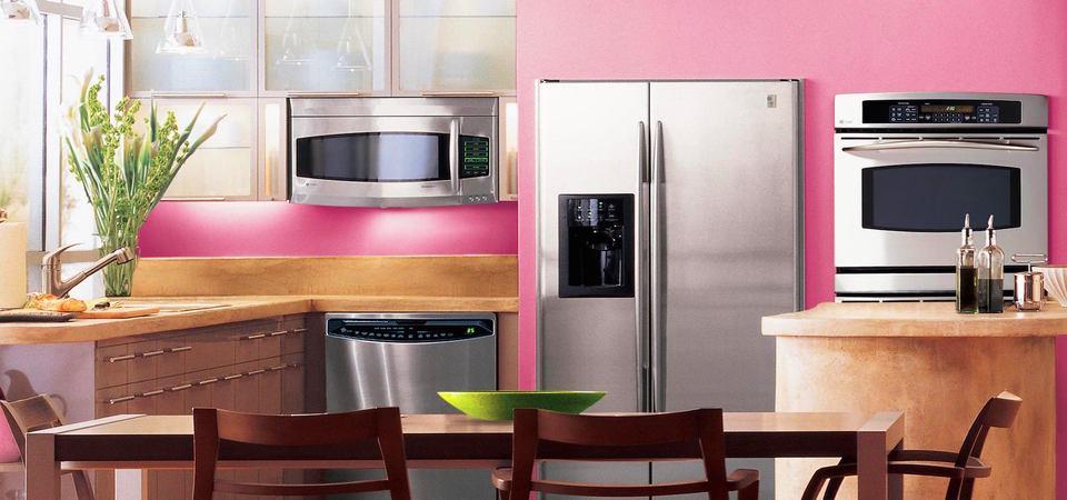 Розовый цвет в оформлении кухни