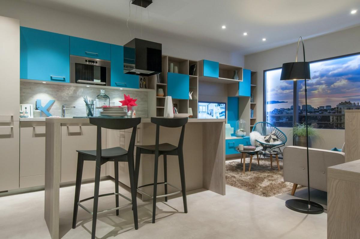 Голубой цвет в оформлении кухни