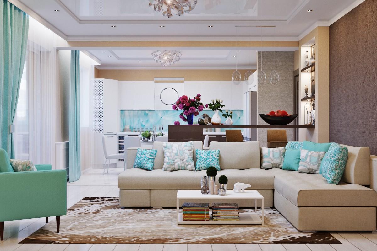 for Salon blanc et turquoise