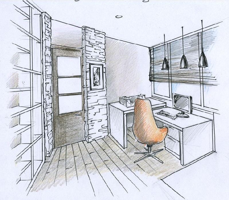 Планировка маленького домашнего кабинета