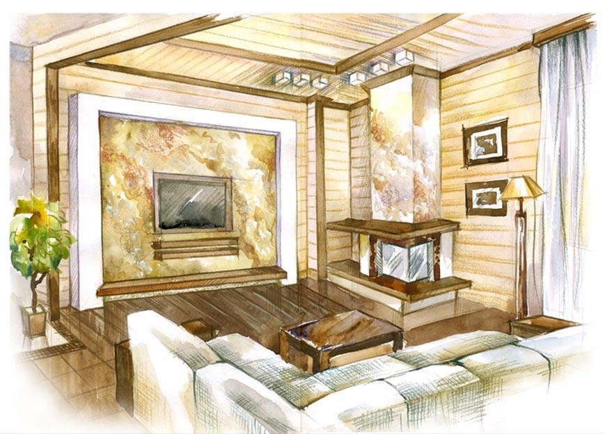Планировка маленькой гостиной в светлых тонах