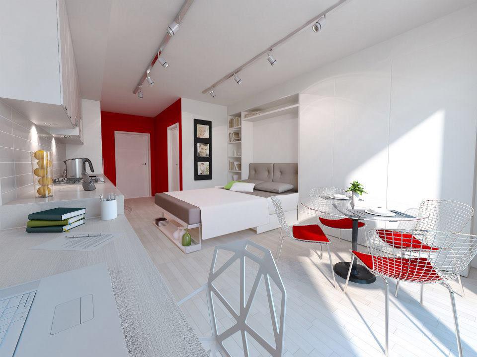 Красные акценты в белой квартире-студии