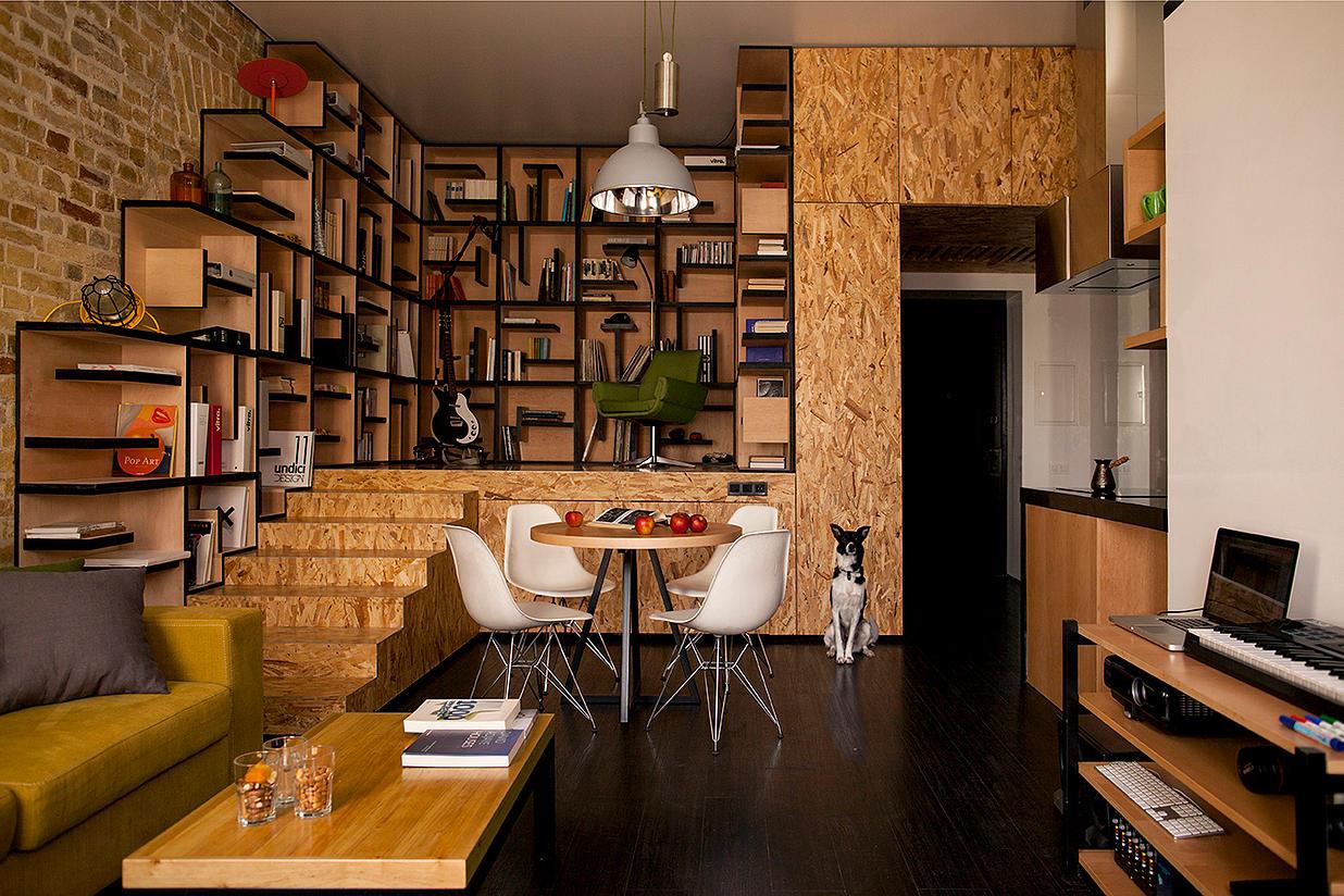 Квартира-студия с отделкой из ДСП