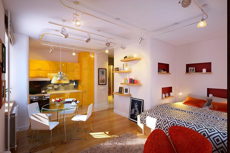 Красные акценты в чёрно-белой квартире-студии