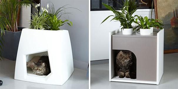 Кошкин домик-подставка для комнатных растений