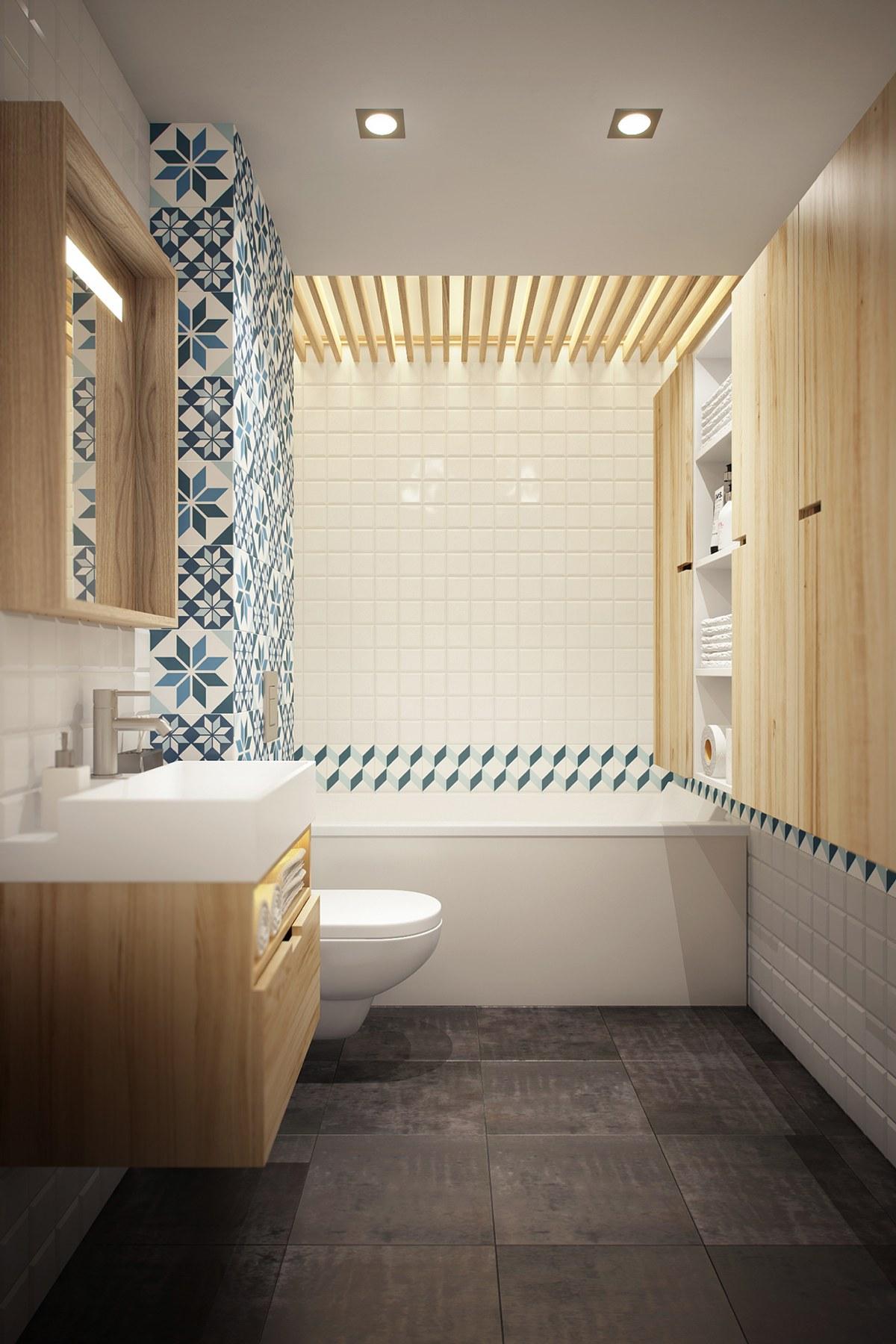 Маленькая ванна в скандинавском стиле
