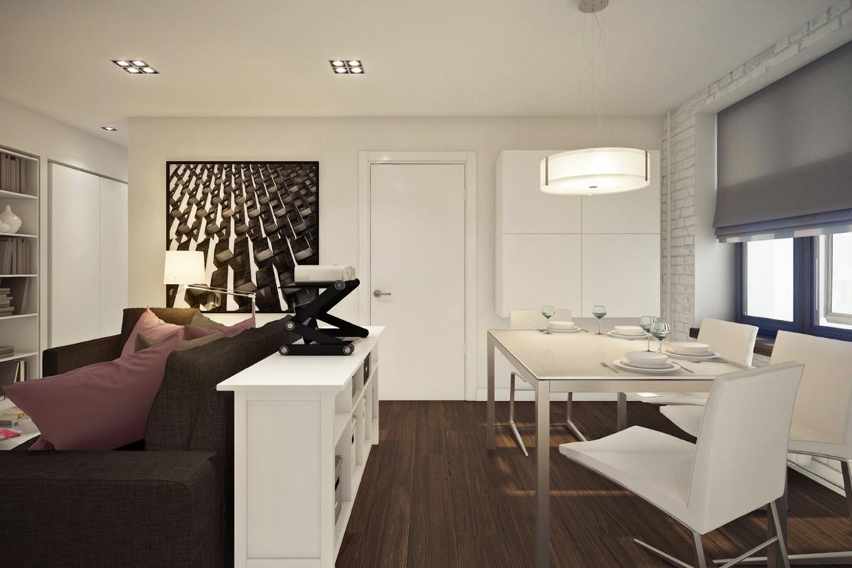 Дизайн маленькой квартиры-студии с лиловыми акцентами - фото 4