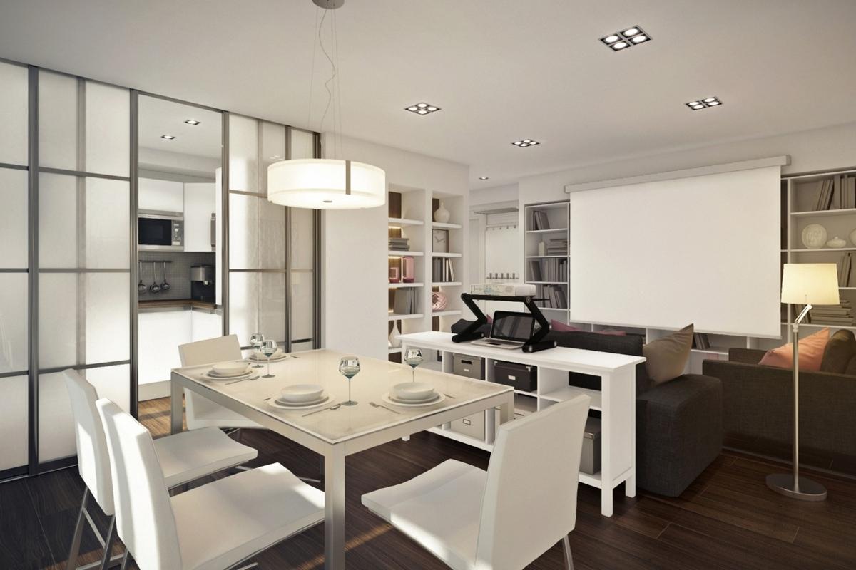 Дизайн маленькой квартиры-студии с лиловыми акцентами - фото 3