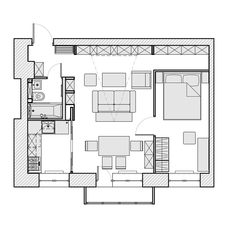 Планировка маленькой квартиры-студии - фот 3