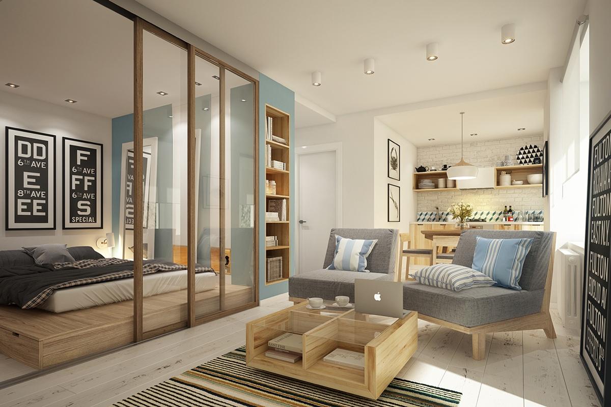 Дизайн маленькой квартиры-студии в скандинавском стиле
