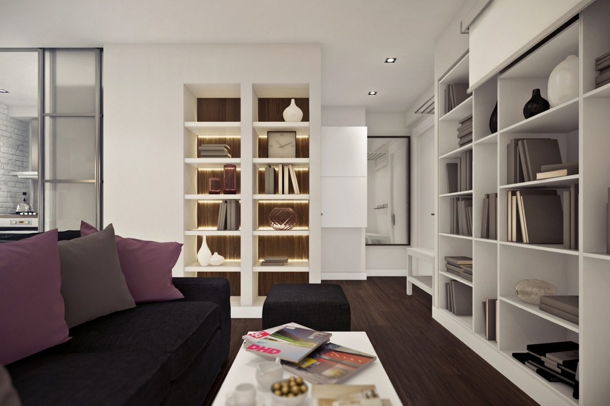 Дизайн маленькой квартиры-студии с лиловыми акцентами - фото 2
