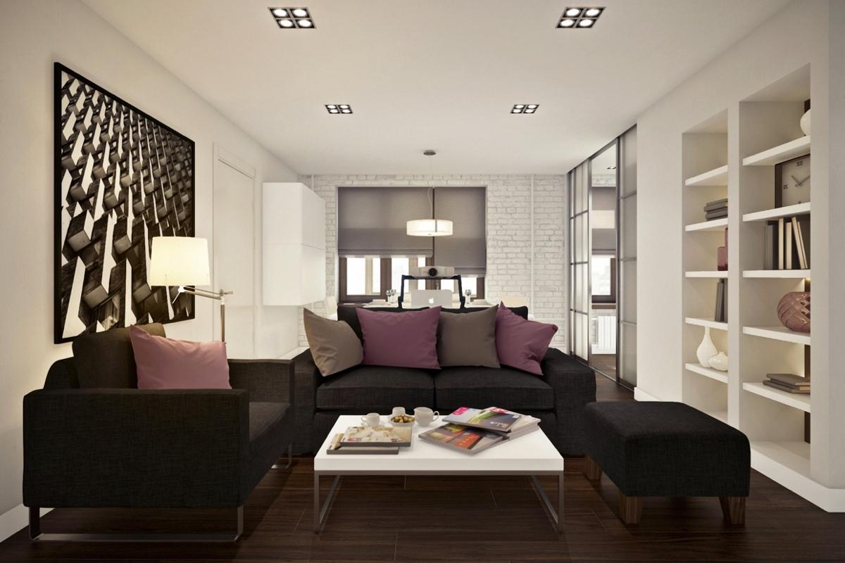 Дизайн маленькой квартиры-студии с лиловыми акцентами