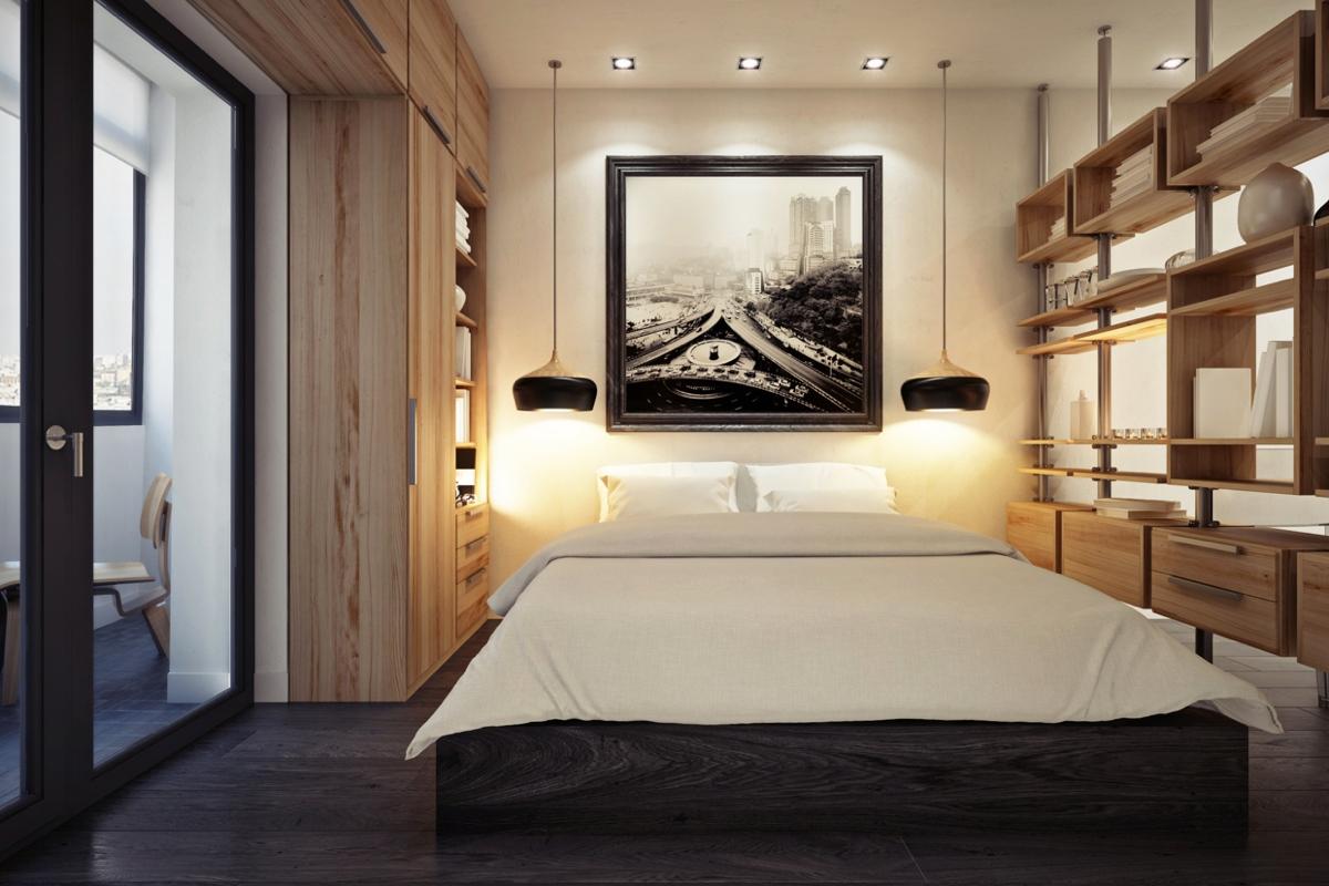 Дизайн маленькой квартиры-студии в тёплых тонах