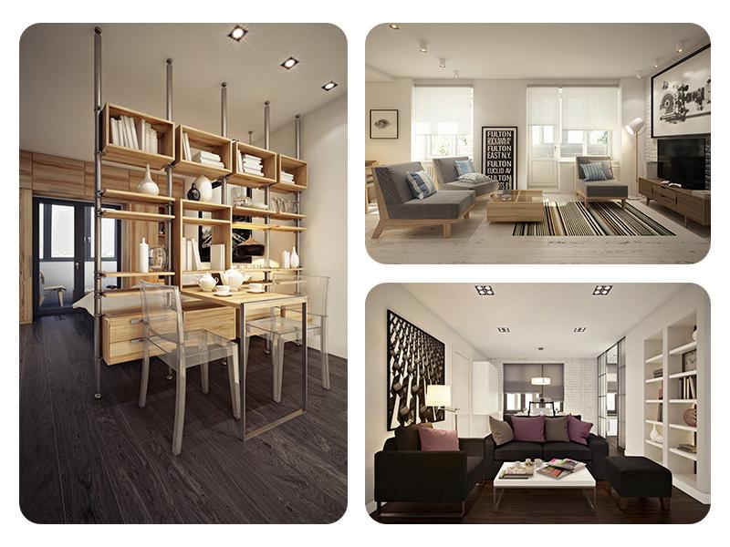 Дизайн маленькой квартиры-студии в нескольких вариантах