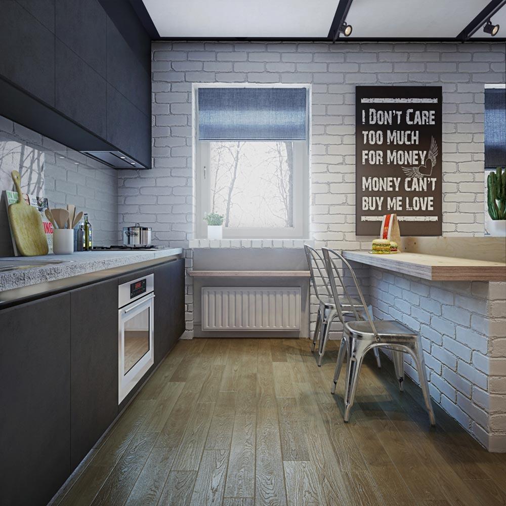 Кирпичная кладка в интерьере маленькой квартиры