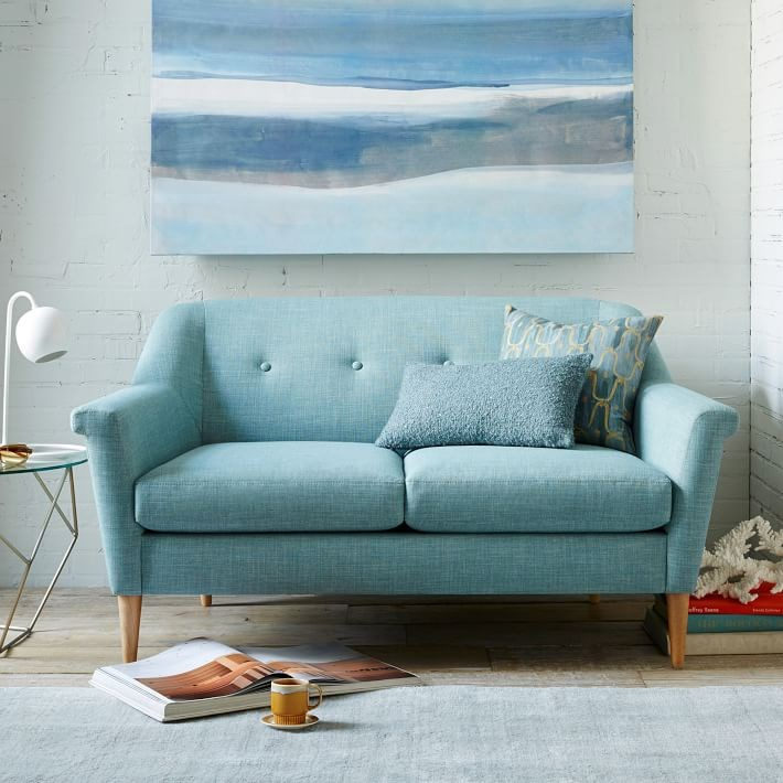 Голубой диван Crate & Barrel's Finn Loveseat