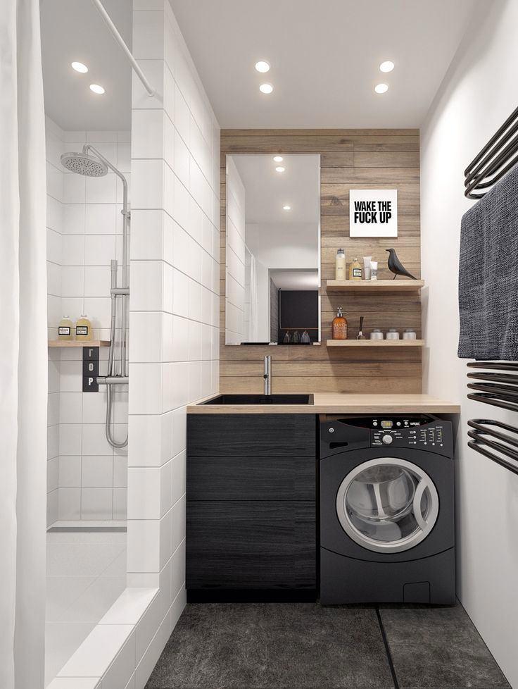 Оформление ванной в чёрно-белом цвете
