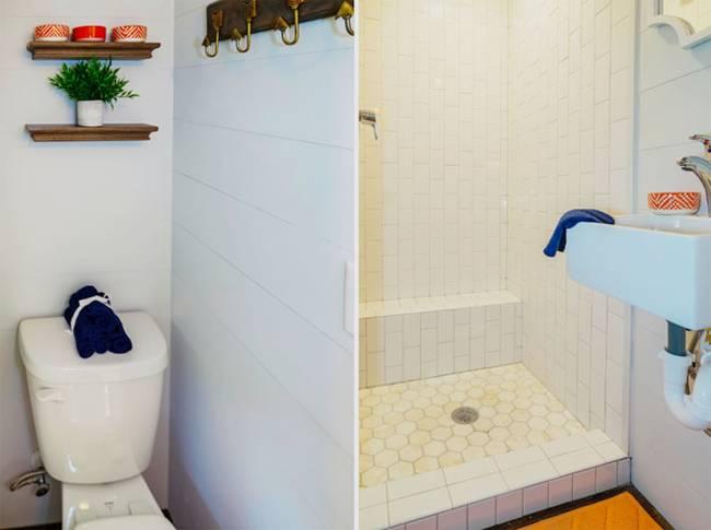 Крошечный дом. Скромный дизайн ванной создает уют