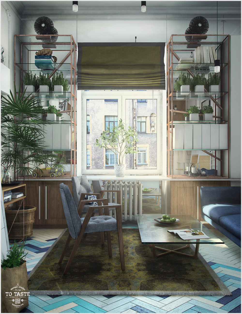 Множество растений в интерьере гостиной зоны