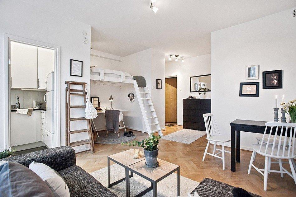 Квартира-студия в чёрно-белом цвете