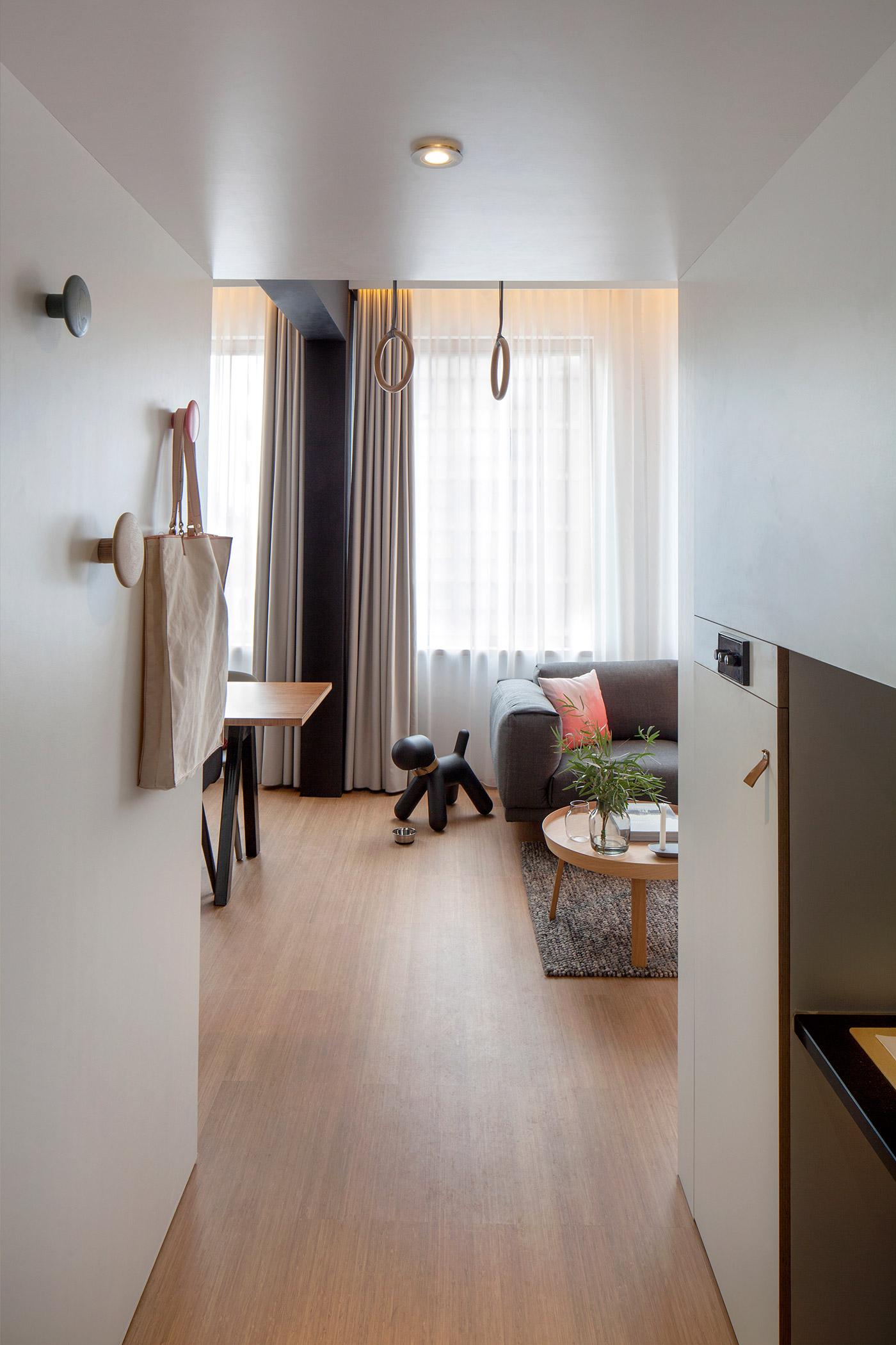 Скульптура собачки в интерьере квартиры-студии
