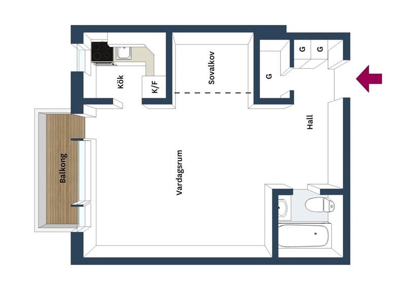 Планировка квартиры-студии со спальней под потолком